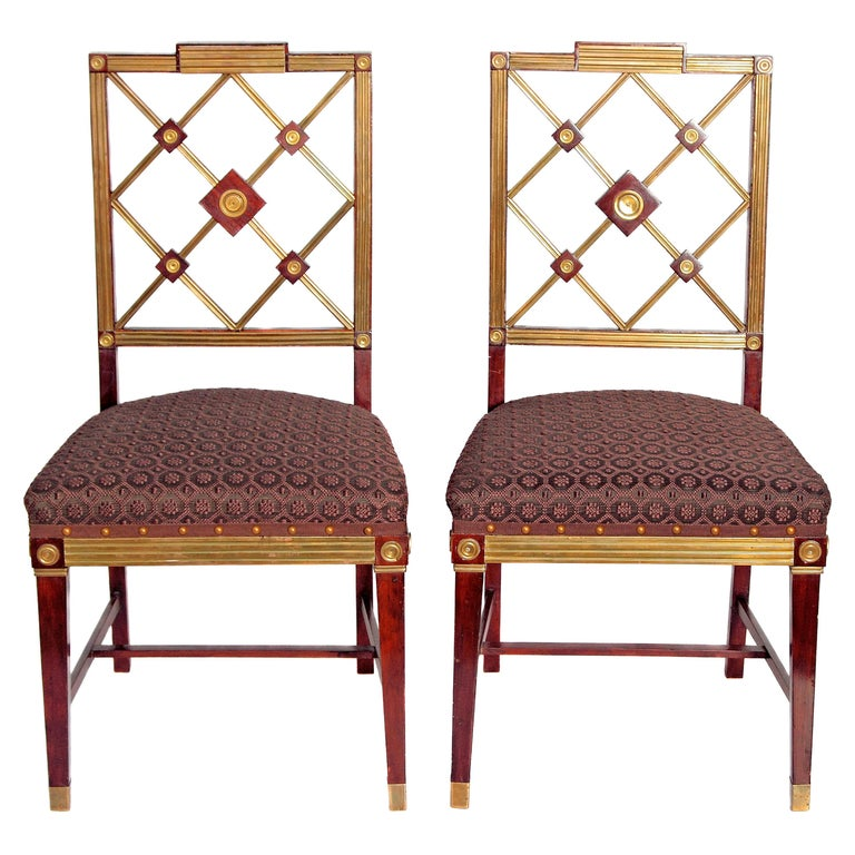 Pair of Russian Empire Neoclassical Brass Mounted Mahogany Side Chairs For Sale