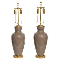 BHL6753 Pair of Greige Urn Form Table Lamps by Lenox