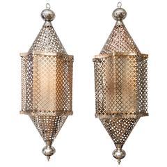 John Salibello Bridgehampton. Brass And Nickel Open Pattern Pendant With  Parchment Shade