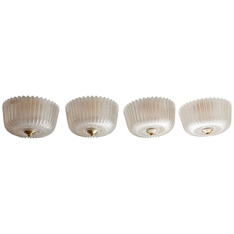 Fluted Frosted Glass Flush Mount Ceiling Fixture with Brass Detail