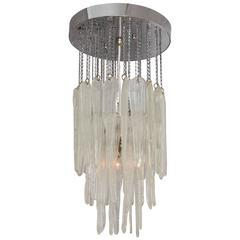 Glass Icicle Chandelier with Chrome Detail