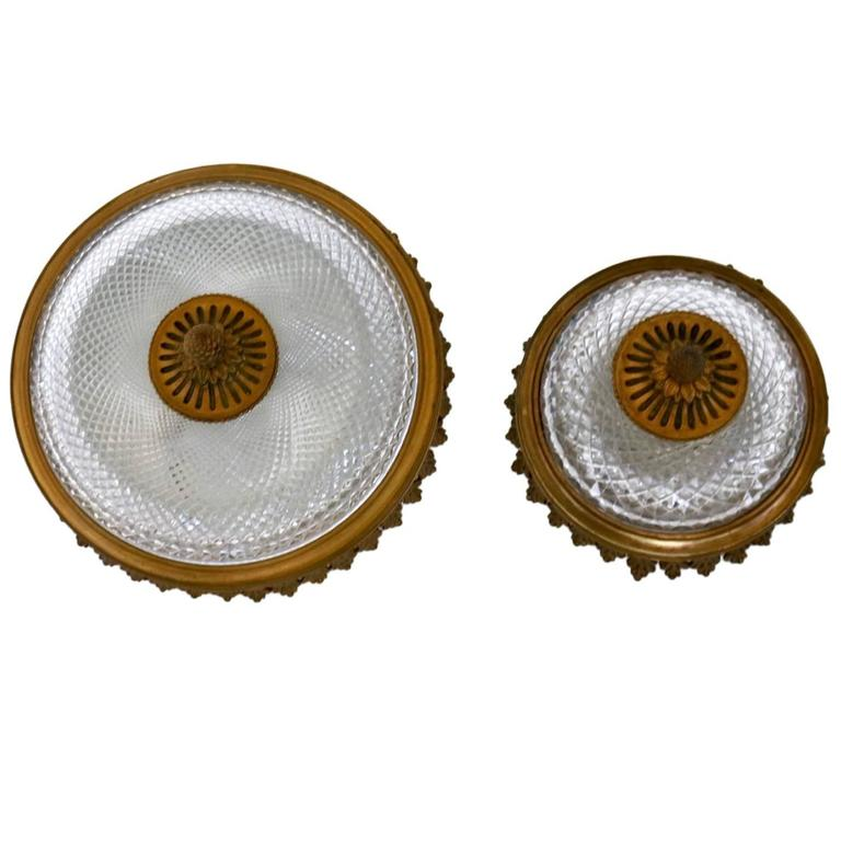 Pair of Carved Glass and Cast Brass Wall Lights, Italy, 1950s