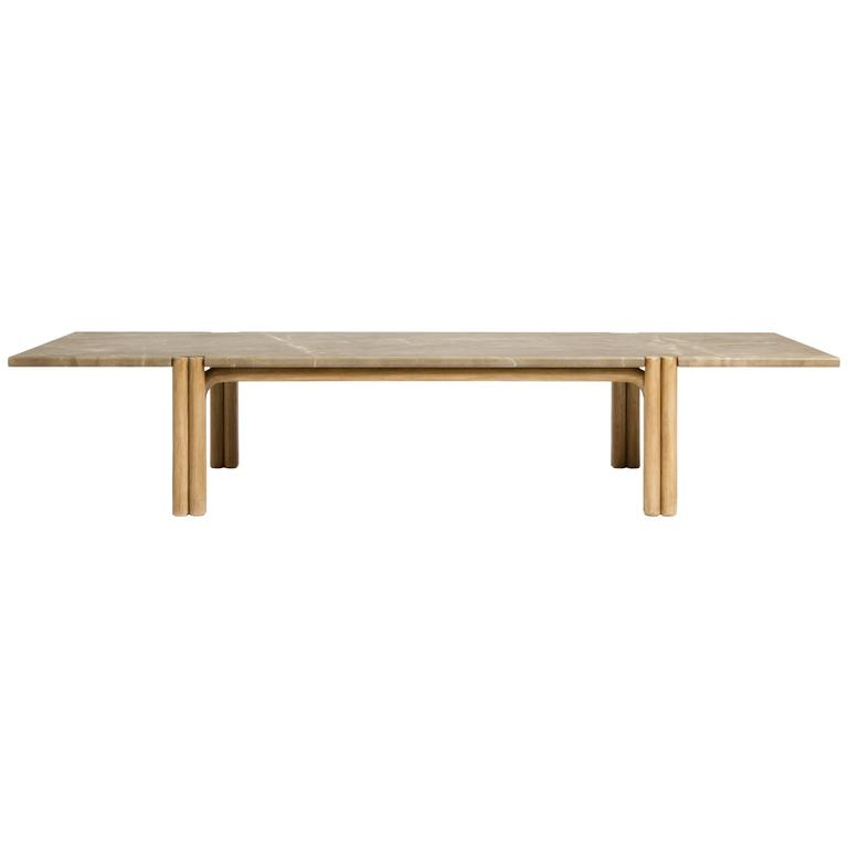 CA21S Contemporary Handcrafted Minimalist Modern Marble and Oak Coffee Table For Sale