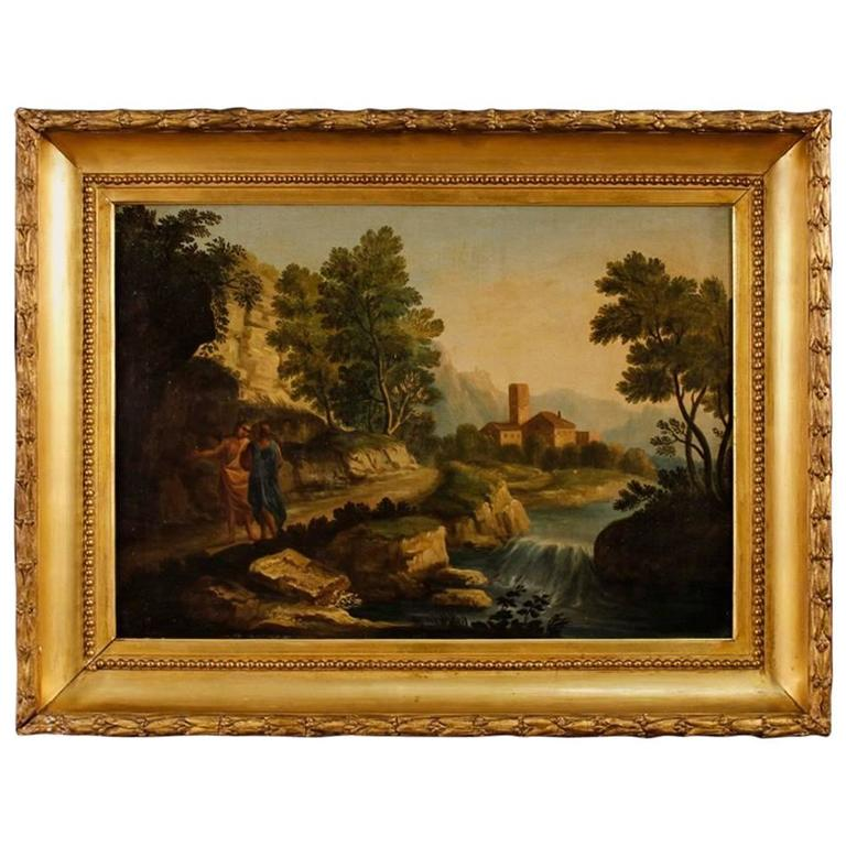 18th Century Italian Painting Landscape with Characters