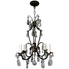 French Gilt Rock Crystal Four-Light Bagues Jansen Petit Chandelier Light Fixture