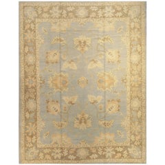 Beautifully Designed Blue Turkish Oushak Rug Carpet