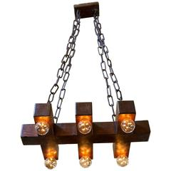 Handmade Wooden Geometric Light with Six Sockets from Belgium, circa 1940