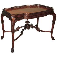 19th Century chippendale style mahogany silver table