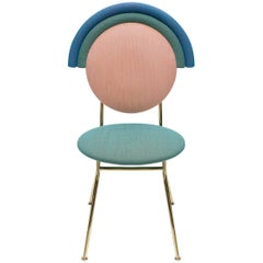 Iris Chair in Kvadrat Fabric and Polished Brass Polish by Merve Kahraman