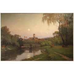 Antique French Landscape Painting of a River Crossing a Village