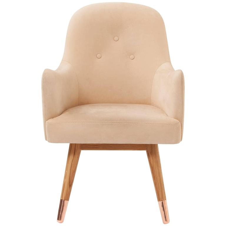 Dandy Beige Suede Leather Chair by Merve Kahraman