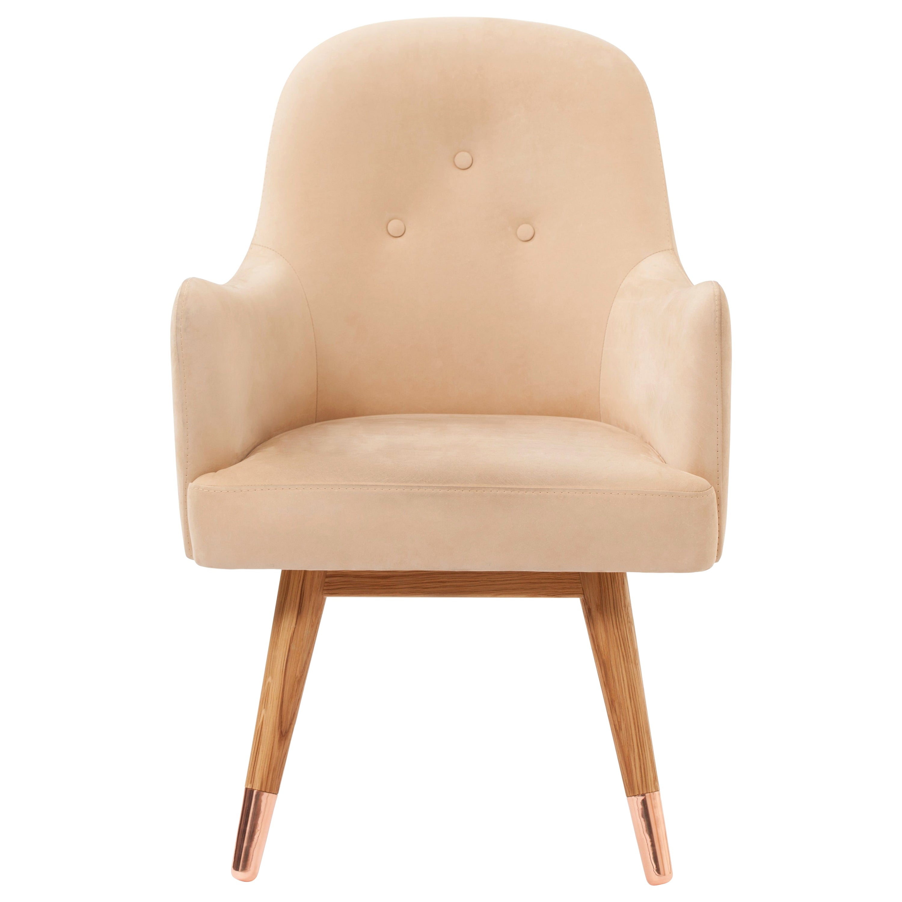 Dandy Beige Suede Leather Chair with American White Oak and Polished Copper