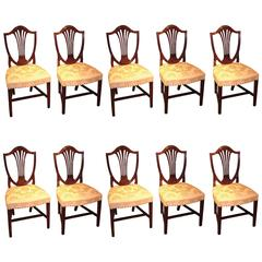 Set of Ten Single Late 18th Century Hepplewhite Period Mahogany Dining Chairs