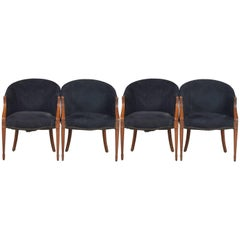 Four Black Neoclassical Side Chairs with Nailhead Details