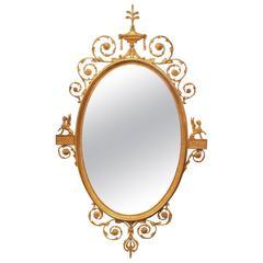 Fine 19th Century Adam Style Giltwood Oval Mirror