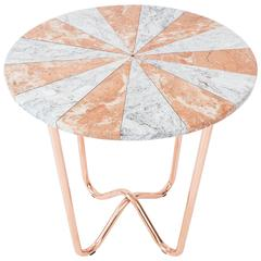 Jasmine Pizza Side Table in Diana rose and dream grey marble and copper legs.