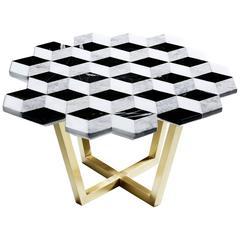 Diplopia Monochrome Coffee Table in Black toros marble, silver gray marble.