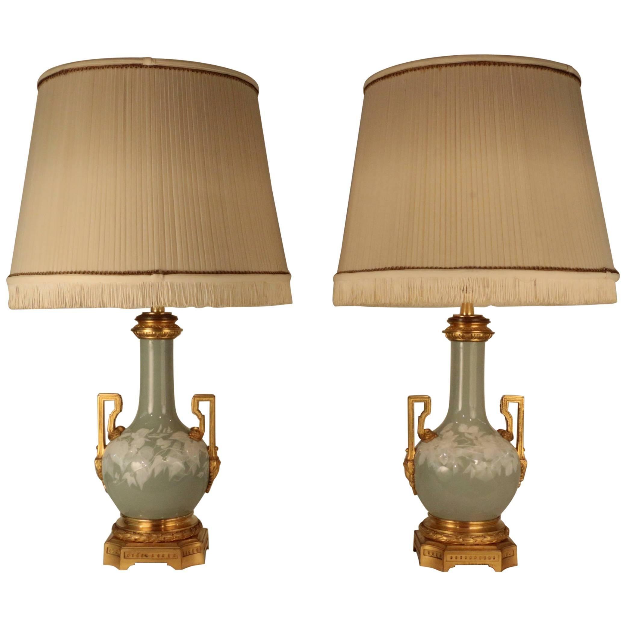 Pair of Antique French Pate Sur Pate Celadon Porcelain Lamps