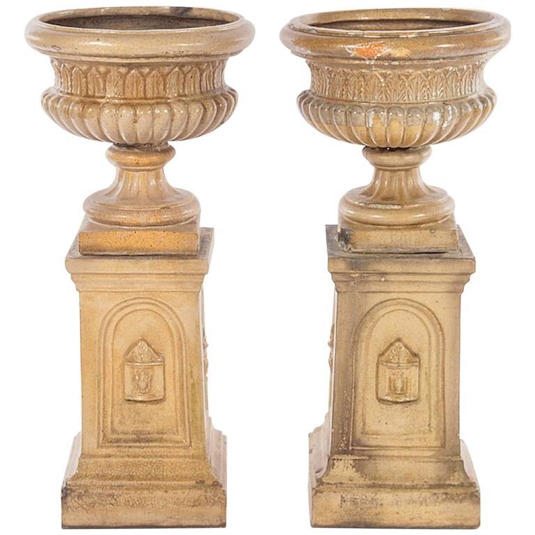 Pair of 19th Century Glazed Terracotta Garden Urns
