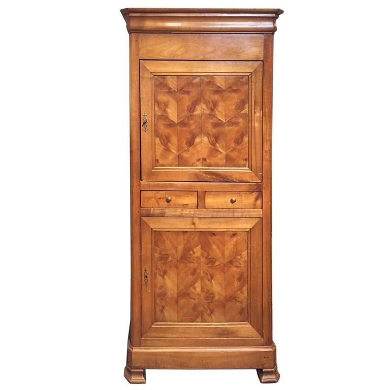 19th Century French Maple Veneer Cupboard