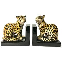 Pair of Italian Bookends with Leopards in Ceramic