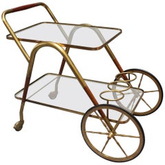 Brass Serving Trolley with Wood Trim by Cesare Lacca, circa 1950s