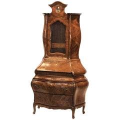 Italian Rococo Style Walnut Secretary Cabinet