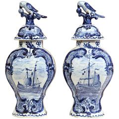 Pair of Early 20th Century Blue and White Porcelain Delft Vases with Lids