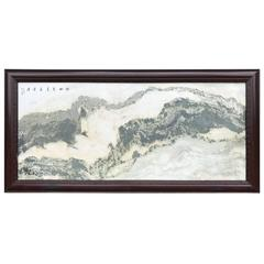China Extraordinary Huge Natural Marble Stone Painting Mountain scape Masterwork