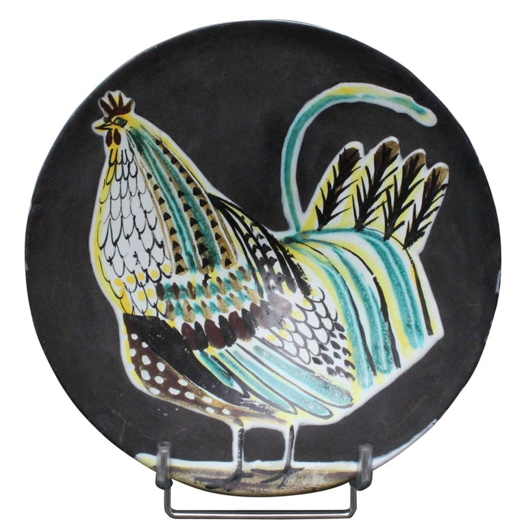 Black Ceramic Coq Plate by Roger Capron Valauris, 1950s