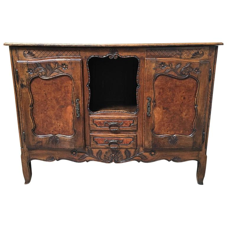 19th Century Rustic Buffet with Burl Wood Panels For Sale