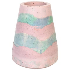 Vesta II Concrete Vase in Detritus Pattern, Handmade Organic Modern Vessel