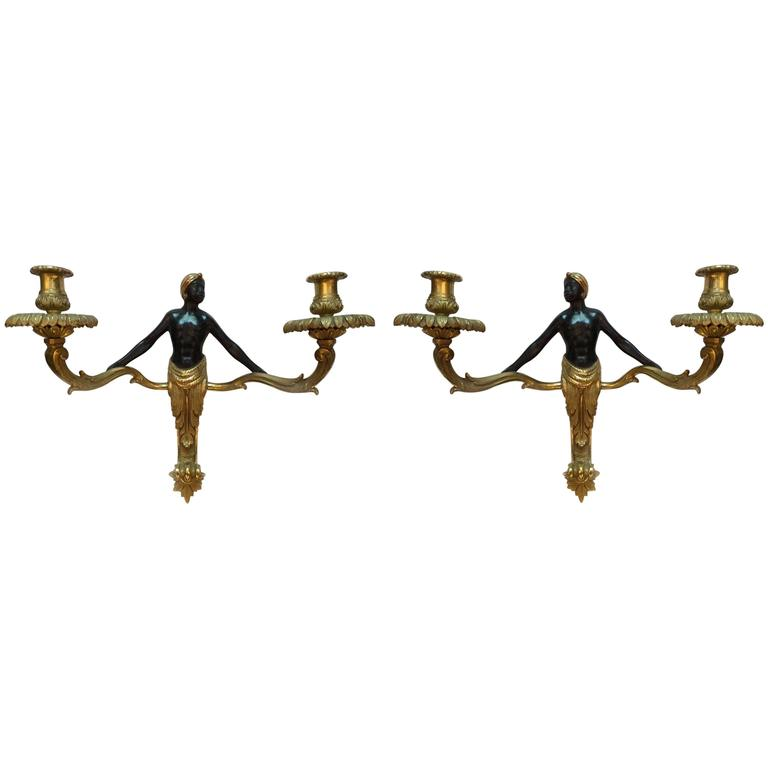 Pair of Antique French Empire Style Two-Light Wall Sconces