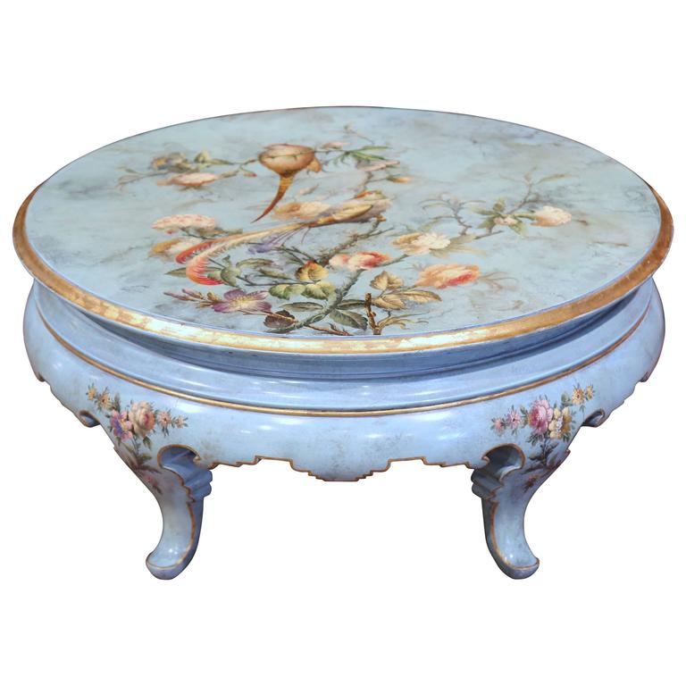 Early 20th Century French Hand Painted Round Coffee Table With Peacocks For Sale At 1stdibs