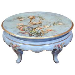Early 20th Century, French Hand-Painted Round Coffee Table with Peacocks