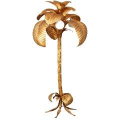 Mid-20th Century Gilt Palm Tree Floor Lamp
