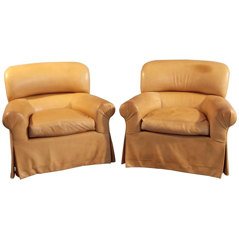 Custom Pair of Tan Leather Club Chairs, 1980s