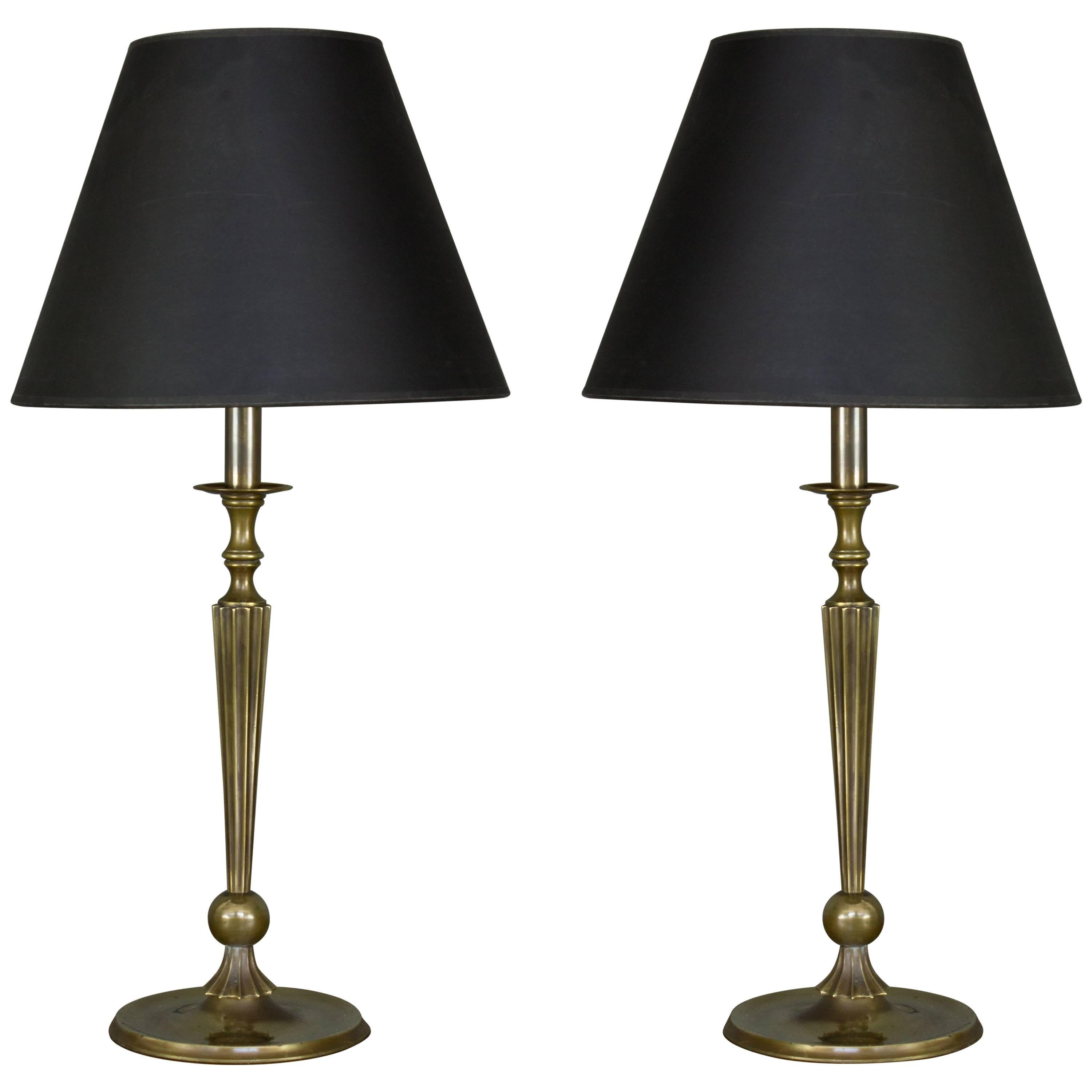 Pair of 1940s French Brass Table Lamps