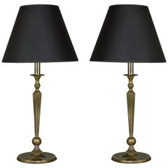 Pair of French Brass Table Lamps