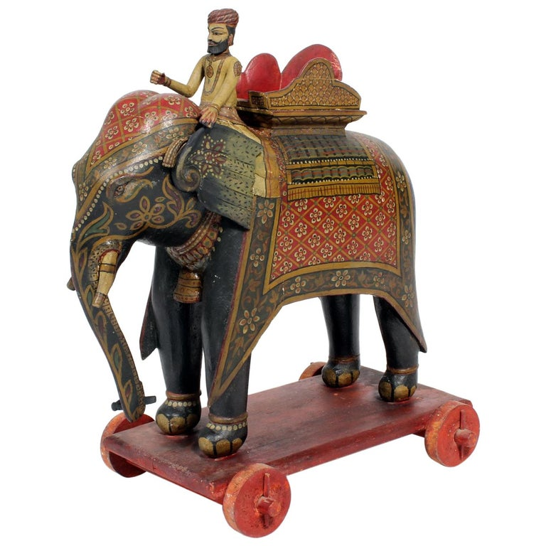 Large Painted Elephant and Rider on Wheeled Base For Sale