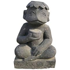 Japan Old Kappa Folk Art Garden Water Deity - hand carved stone