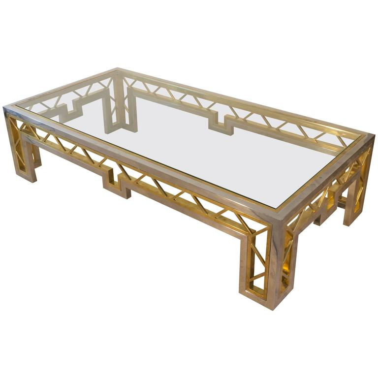 French 1970s Polished Steel and Brass Coffee Table with Glass Top