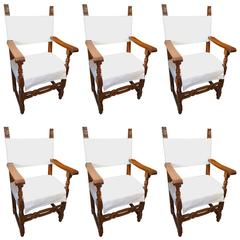 19th Century Italian Tuscan Farmhouse Set of Six Walnut Armchairs Ca 1860