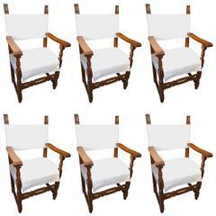 19th Century Antique Italian Tuscan Set of Six Armchairs