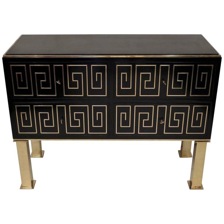 Black Lacquered and Brass Inlays Chest of Drawers, Italy 1950s.