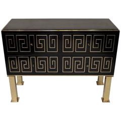 Black Lacquered and Brass Inlays, Chest of Drawers, Italy, Mid-Century