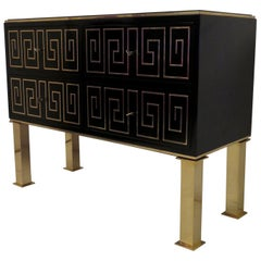 1950 Black Lacquered and Brass Inlays Italian Midcentury Chest of Drawers