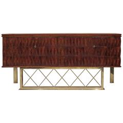 1940 Cherrywood and Brass Italian Art Deco Sideboard