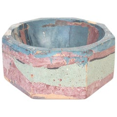 Octavia Max Concrete Bowl in Exclusive Detritus Pattern, Handmade Organic Modern