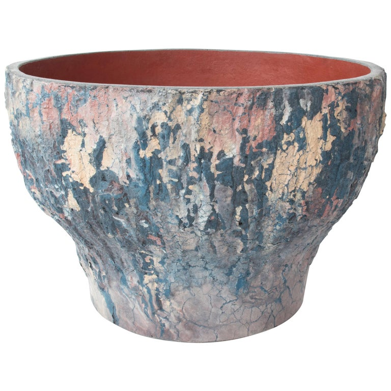 Handmade Large Concrete Planter in Oracle Pattern, Organic Modern For Sale